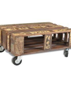 vidaXL sofabord med 4 hjul genanvendt træ