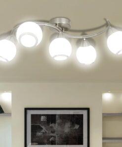 Loftslampe med glasskærme bølget
