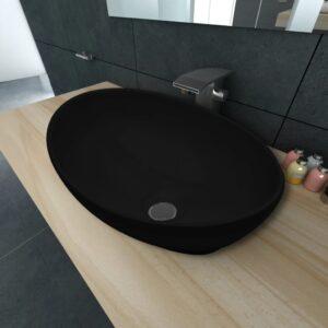 vidaXL keramisk luksushåndvask oval sort 40 x 33 cm