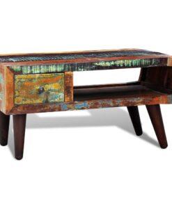 vidaXL sofabord med afrundet side 1 skuffe genanvendt træ