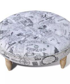 Taburet/fodstøtte/ottoman mønstret rund 81 cm i diameter