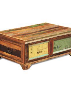 vidaXL sofabord med opbevaringsplads vintagestil genanvendt træ