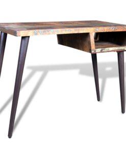 vidaXK skrivebord i genanvendt træ med jernben
