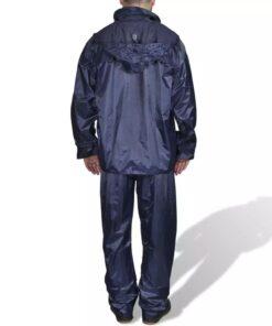 Marineblåt 2-delt regnsæt med hætte til herrer, størrelse M
