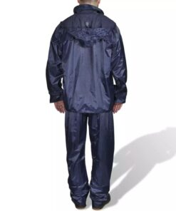 Mænds Blå 2 Dele regn Dragt med hætte L