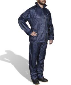 Marineblåt 2-delt regnsæt med hætte til herrer, størrelse XXL