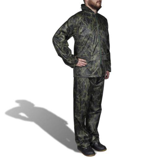 Mænds Camo tryk 2-delt regn kulør med hætte XL