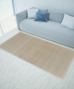 Firkantet naturligt bambustæppe 150 x 200 cm