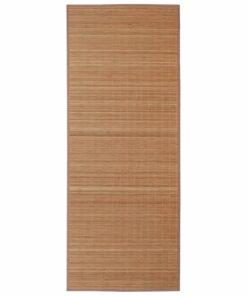 Firkantet brunt bambusgulvtæppe 80 x 300 cm