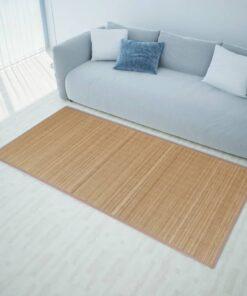 Firkantet brunt bambusgulvtæppe 150 x 200 cm