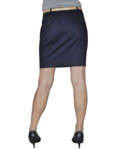 Mini Nederdel med bælte 36 Marineblå