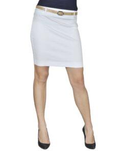 Mini Nederdel med bælte 34 Hvid