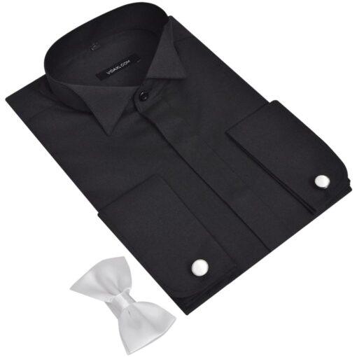Mænds Rygning Shirt med Manchetknapper og Butterfly Str S Sort