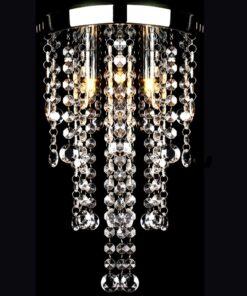 Hvid metallampe til loftet med krystalperler