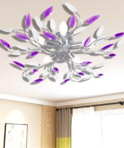 Lilla og hvid loftslampe m. krystalblade i akryl til 5 E14-pærer