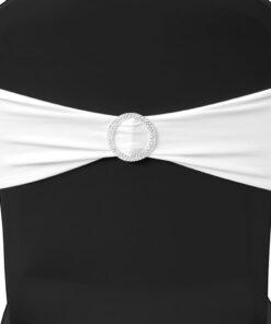 25 stk. hvide dekorative stolebånd i stræk med diamantspænde