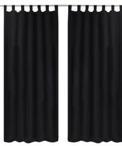 Gardiner i mikro-satin med løkker 2 stk. 140 x 175 cm sort