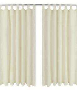 Gardiner i mikro-satin med løkker 2 stk. 140 x 225 cm cremefarvet