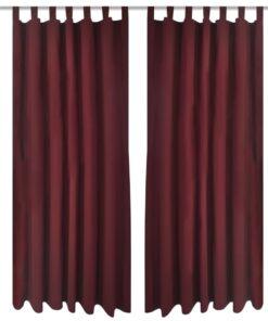 Gardiner i mikro-satin med løkker 2 stk. 140 x 175 cm bordeaux-rød