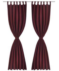 Gardiner i mikro-satin med løkker 2 stk. 140 x 245 cm Bordeaux-rød
