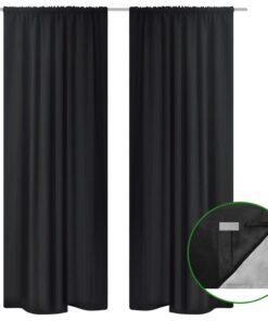 vidaXL mørklægningsgardiner 2 stk. dobbelt lag 140×245 cm sort