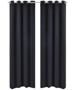 2 stk Sort Blackout Gardiner med Metal Ringe 135 x 245 cm