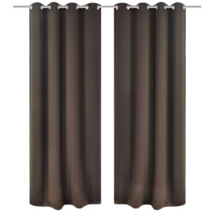 2 stk Brun Blackout Gardiner med Metal Ringe 135 x 245 cm