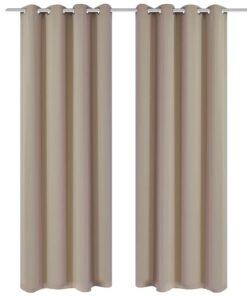 vidaXL mørklægningsgardiner med metalringe 2 stk. creme 135 x 245 cm