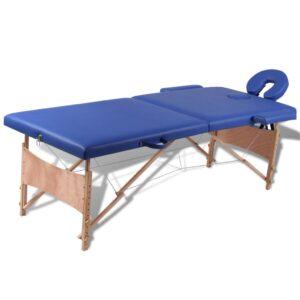 Blå sammefoldeligt massagebord, 2 zoner med træramme