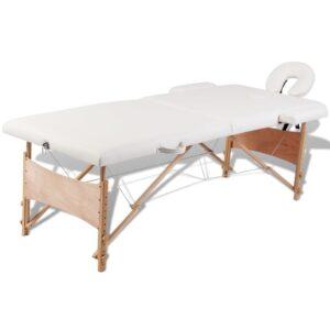 Cremefarvet sammefoldeligt massagebord, 2 zoner med træramme