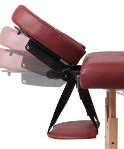 Rød sammefoldeligt massagebord, 3 zoner med træramme