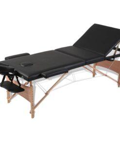 vidaXL massagebriks sammenfoldelig 3 zoner træstel sort