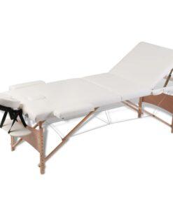 vidaXL massagebriks sammenfoldelig 3 zoner træstel cremefarvet