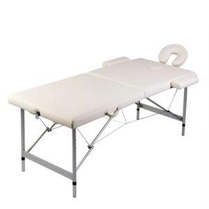 Cremefarvet sammenfoldeligt massagebord med aluminiumsstel,2 zoner