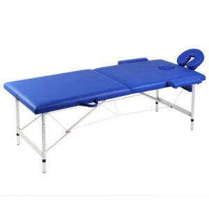 Blåt sammenklappeligt massagebord med 2 zoner og aluminiumsramme