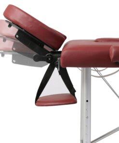 Rød sammenklappeligt massagebord med 2 zoner og aluminiumsramme