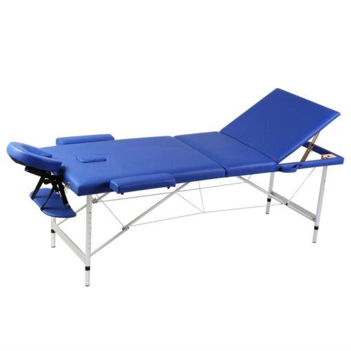 Blåt sammenklappeligt massagebord med 3 zoner og aluminiumsramme