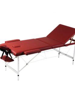 Rød sammenklappeligt massagebord med 3 zoner og aluminiumsramme