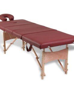 Rød foldbar massage tabel 4 zoner med træramme