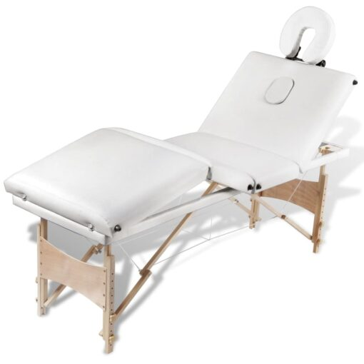 vidaXL massagebriks sammenfoldelig 4 zoner træstel cremehvid