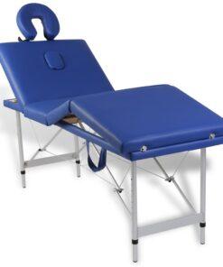 Blå foldbar massage tabel 4 zoner med aluminiumsramme