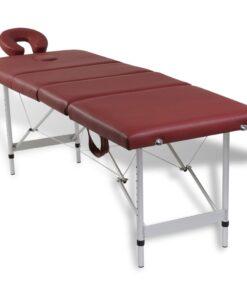 Rød foldbar massage tabel 4 zoner med aluminiumsramme