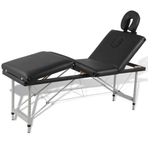 vidaXL massagebord foldbart 4 zoner aluminiumsstel sort