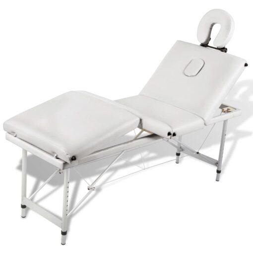Cremefarvet sammenfoldeligt massagebord med aluminiumsstel,4 zoner