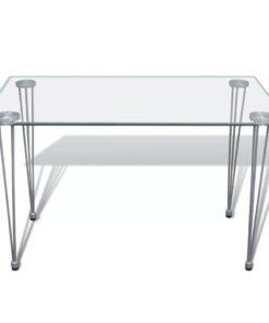 vidaXL spisebord med glasbordplade klar
