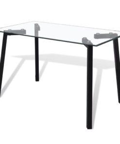 vidaXL spisebord med glasplade og sorte ben