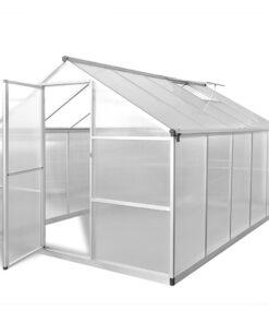 vidaXL forstærket aluminiums drivhus med basisramme 7,55 m²