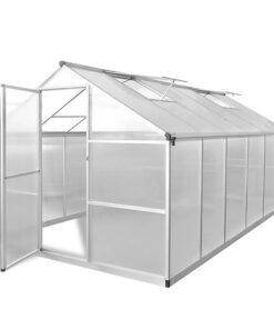 vidaXL forstærket aluminiums drivhus med basisramme 9,025 m²