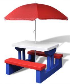 vidaXL bord- og bænkesæt til børn med parasol flerfarvet