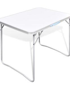 Sammenfoldeligt campinbord med metalramme 80 x 60 cm